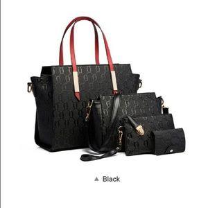 Black Women Four Piece Handbag Set